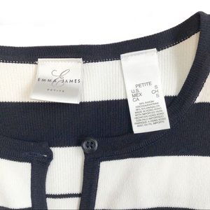 Emma James Sweaters - Striped cardigan sweater, navy and cream, SP